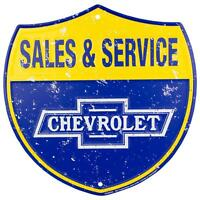 "CHEVROLET SALES & SERVICE 12"" ROUND METAL TIN EMBOSSED RETRO SIGN LOGO CHEVY GM"