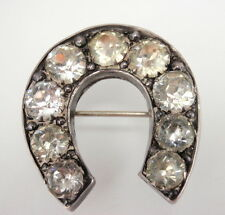 Victorian English Sterling Silver Diamond Paste Rhinestone Horse Shoe Brooch