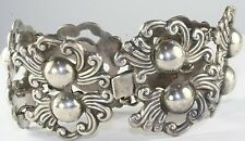 VINTAGE WIDE MEXICAN MEXICO  STERLING SILVER BRACELET