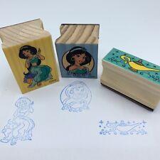 Disney Aladdin Princess Jasmine Magic Lamp 3 Stamp Wooden Rubber Lot Preowned