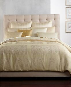 Hotel Collection Patina Textured Jacquard Duvet Cover - FULL / QUEEN - Gold