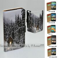 For HTC Series - Snow Forest Theme Print Wallet Mobile Phone Case Cover