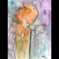 Matt Scalf People Family Abstract Watercolor ORIGINAL PAINTING 9x12 Woman Kids