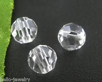 100 Neu klar CRISTALL Facettiert Böhmische Glasschliffperlen Beads 6mm