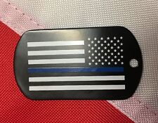 Thin Blue Line black dog tag Rothco survival tactical GIFT police lawenforcement