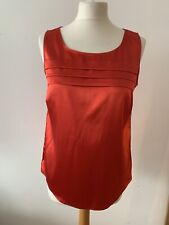 M&S Petite Red Satin Type Sleeveless Top Size 12 New Cherry Red