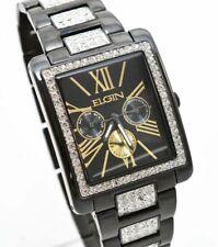 New Elgin Men`s Black IP Crystal Band & Dial Multifunction Quartz Watch FG10003