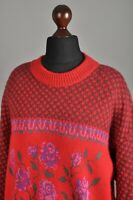 Women's BOGNER Crew Neck Sweater Jumper Wool Blend Red Knitted Roses Size 42