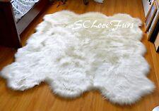 "58"" x 72"" Warm White Medium Sheepskin Pelts Sixto Sheep Area Rug Faux Fur Shag"