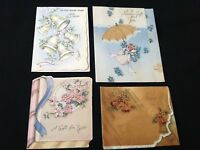 #103 Romantic Lot Of 4 Vintage 1940s Wedding Gift Enclosure Greeting Cards Bells