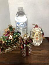 LOT 3 FITZ AND FLOYD OLD FASHION CHRISTMAS SANTA SLEIGH PRESENT GLASS ORNAMENTS