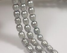 Gray Rice Pearl With Ring Size 7-8 x 9-10 mm, Rice Ringed Freshwater Pearl (#32)
