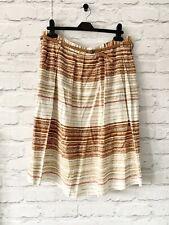 NEXT Skirt Size 12 BEIGE BROWN | Smart CASUAL Midi LINEN BLEND BELT