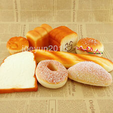 8PCS Yummy Jumbo Simulation Squishy Soft  Bread Toast Bun Cake Charm Props Set