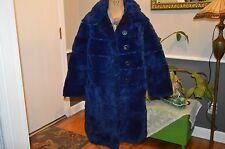 bright blue dyed sheared beaver fur coat