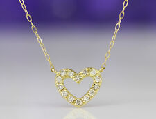 18K Solid Gold Genuine Diamond .10 Carat Sparkling Heart Pendant and Chain