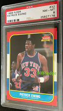 1986-87 FLEER ROOKIE CARD RC: PATRICK EWING #32 NY KNICKS HOF PSA 8 NEAR MINT