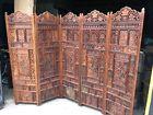 stunning vintage hand carved Asian Indian wood room divider screen 5 panel 68/90
