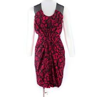 Whistles Red Black Snake Print Silk Cocktail Dress Ruched Pleat Details UK 8 36