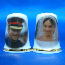 Birchcroft China Thimble - Prince Harry and Meghan Royal Wedding Pair - Free Box