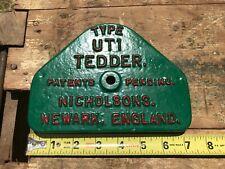 Type Ut1 Tedder Nicholsons Antique Tractor Parts Farm Advertising Cast Iron