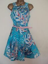 CLOSET GREEN FIT N FLARE  SWIRL PRINT BELTED DRESS NWT SZ 10