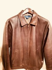 Designer Ralph Lauren Polo Men's Brown Leather Jacket Medium