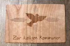 Grußkarte aus Holz Geschenk Karte Geschenkkarte zur heiligen Kommunion Taube