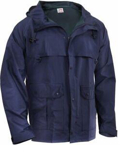 Navy Blue Microlite Tactical Lightweight PVC Nylon Rain Jacket