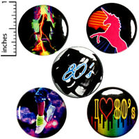 "Retro 80's 5 Pack Buttons Party Pin Dance Unicorn Cool Badge Pinback 1"" #E3-2"