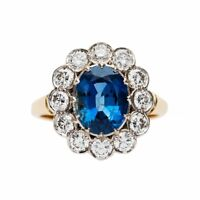 2.8ct Oval Blue Sapphire Engagement Ring Floral Halo Antique 14k Dual Gold Over