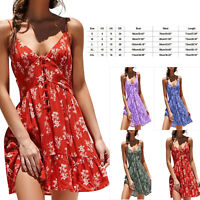 Womens Summer Boho Floral Beach Dress Sleeveless Straps Party Evening Mini Dress