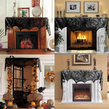 Halloween Gothic Cobweb Fireplace Scarf Spooky Spider Web Doorway Mantle Decor