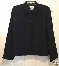 AGB Black Suit Jacket Blazer Button Down Lined Career Office M Medium 12