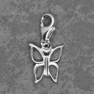 925 Sterling Silver Clip On BUTTERFLY CHARM w/ lobster trigger clasp