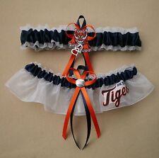 Detroit Tigers Wedding Garter Set Prom  Baseball Double Heart Charm