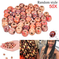 50pcs/Pack Dreadlock Beads Wooden Hair Braiding Tube Rings Extension Accessories