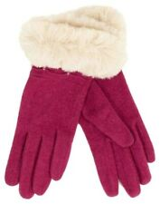 Pink Gloves Ladies Faux Fur Cuff By Powder Ladies Cerise Fuchsia Wool Blend