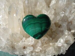 Malachite Heart-From Africal -Emerald Green-Strong Heart Energy!