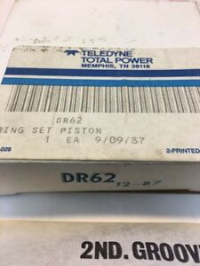 Teledyne Wisconsin Engines Complete Piston Ring Set DR62 NOS OEM Made in USA