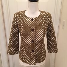 Talbots Womens Brown Cane Weave Print Jacket Professional Career Size 4P Summer