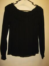 CHARLIE BROWN SIZE 8 SOLID BLACK L/S LADIES TOP WITH FEATURE SHIRRING