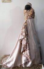 Abito da Sposa colore Champagne Bridal Dress taglia 46 taglio SARTORIALE pizzo3D