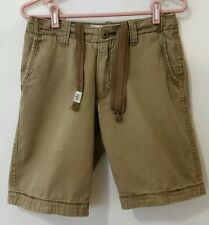 Aeropostale Short Flat Front Khaki Brown Cotton Casual Men Size 28 Drawstring