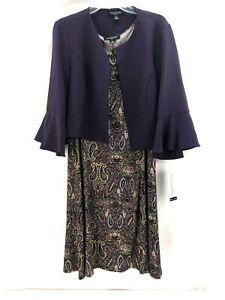 NWT PERCEPTION Purple Paisley Sleeveless Jacket Dress Womens Plus 1X $79