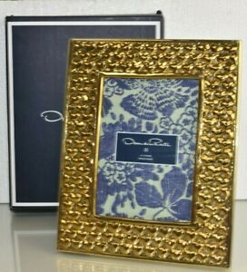 $125 NEW Oscar de la Renta BRASS HEARTS PHOTO FRAME Velvet Backing Gold 5 x 7