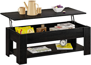 HOMEFORT Lift Top Coffee Table, Wood Cocktail Table with Hidden Compartment and