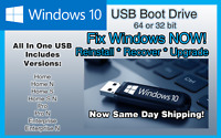 Windows 10 USB Boot Drive All Versions Upgrade Recover Repair Reinstall 32/64bit