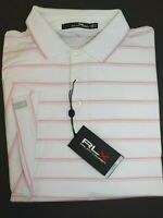 NWT $89 RALPH LAUREN Size L Men's S/S White Pink Striped RLX WICKING Polo Shirt