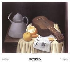Stilleben mit 'das Tagebuch' Zeitung Fernando Botero Kunstdruck Poster 38.5x43
